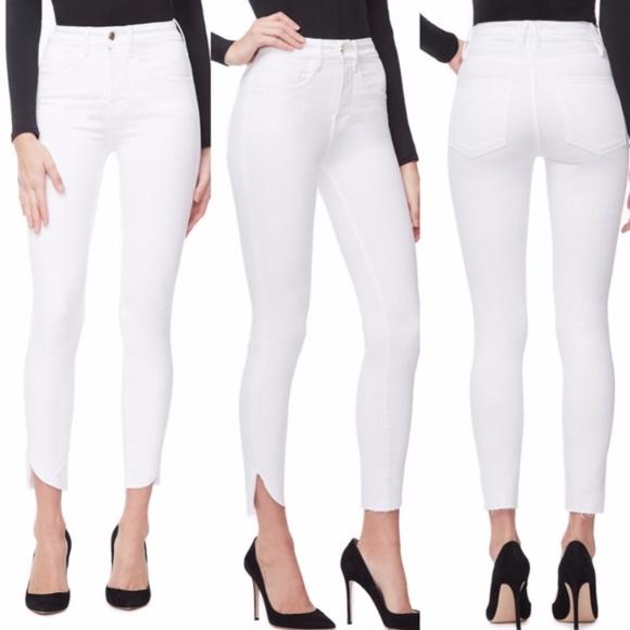 Good American Denim - Good American good legs crop cascade hem white